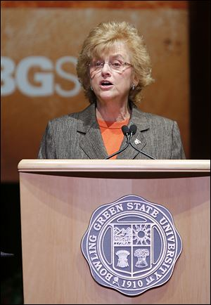 Mary Ellen Mazey, president of Bowling Green State University, gives her 2013 State of the University address Tuesday in the Donnell Theatre at the Wolfe Center for the Arts in Bowling Green.