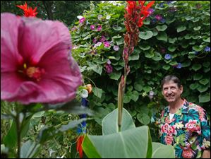 Left, hibiscus; center, canna. Right: That's Bill!