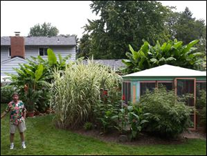 The master gardener grows plants both from the American southwest and the tropics.  Albert built the small tropical-style room as well.