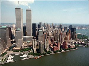 Twin towers of the World Trade Center in New York City before their destruction in 2001.