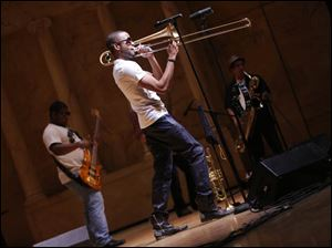Trombone Shorty performs at the Peristyle.