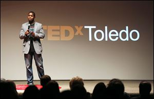 Will Lucas, TEDx curator, kicks off the event Thursday at the Fifth Third building at One SeaGate downtown, promising the audience the 'talk of their lives.' The presentations were from speakers from various backgrounds who spoke of shaping Toledo's future.