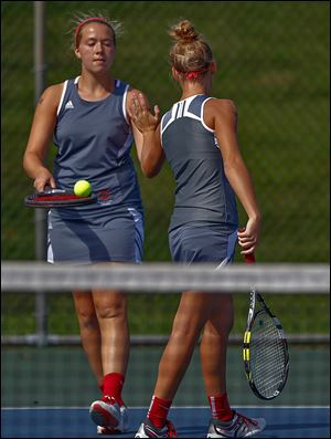 Central Catholic's Mallory Dennis, left, and Emily Brown captured the No. 1 doubles title in the TRAC championships.