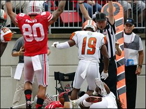 Ohio State TE Jeff Heuerman (86) scores a touchdown against Florida A&M during the first quarter.