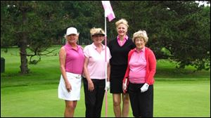 New TCC Susan Kelly, Jo-Ellen Apgar and Nancy Metzger and guest play in the Ladies Guest Day.