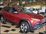 The Jeep Cherokee Trailhawk, shown at Charlie's Dodge in Maumee, has qualified for the Eco-Car tax incentive.