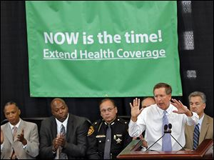 Gov. John Kasich speaks about his plans to expand Medicaid during a speech in the Statehouse in Columbus earlier this year.