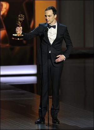 Jim Parsons accepts the award for outstanding lead actor in a comedy series for his role as nerd-genius Sheldon on 'The Big Bang Theory.'