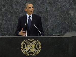 U.S. President Obama speaks during his address to the 68th Session of the United Nations General Assembly.