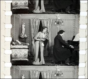 This image provided by Keene State College shows frames of a 1911 movie with actress Mary Pickford. The film was discovered in a New Hampshire barn.