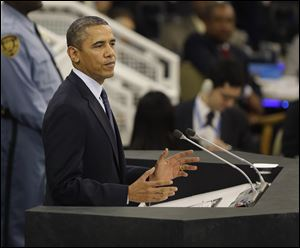 President Obama speaks during the 68th session of the General Assembly at United Nations headquarters.
