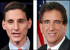 Money given to campaigns for Ohio Treasurer Josh Mandel, left, and U.S. Rep. Jim Renacci, is at issue.