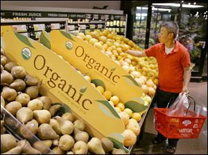 FILE - In this June 15, 2007, file photo, a customer picks out fruit while shopping at the Hannaford Supermarket in Quincy, Mass. The United States and Japan have agreed to make it easier to import each other's organic products, the latest step