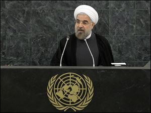 Iranian President Hassan Rouhani addresses a high-level meeting on Nuclear Disarmament during the 68th United Nations General Assembly Thursday.