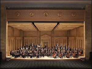 The Toledo Symphony rehearses in the Peristyle at the Toledo Museum of Art.