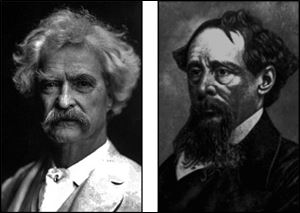 Mark Twain, left, and Charles Dickens were among the most famous passengers of Great Lakes cruise ships in the 1800s.