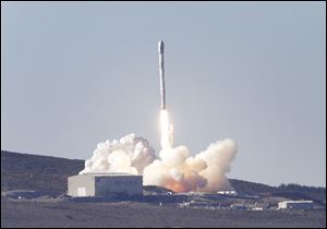 A SpaceX Falcon 9 rocket is launched Sunday from Vandenberg Air Force Base.