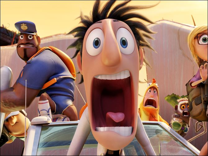 "From left, Sam Sparks, voiced by Anna Faris, Barry the Strawberry, voiced by Cody Cameron, and Flint Lockwood, voiced by Bill Hader in a scene from ""Cloudy with a Chance of Meatballs."""