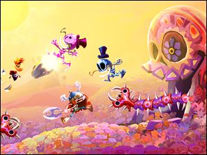 Screen shots from the fantasy adventure video game Rayman Legends, sequel to Rayman Origins.