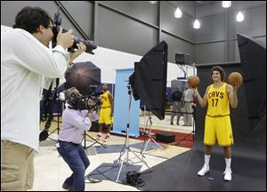 Cleveland Cavaliers' Anderson Varejao poses for a photograph during the NBA teams media day today in Independence, Oho.