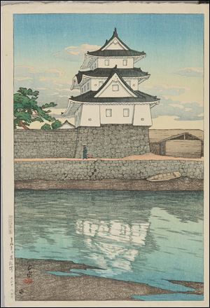 Kawase Hasui's 'Takamatsu Castle,' 1921, is one of the Japanese  woodblock prints in the Fresh Impressions show at the Toledo Museum of Art.