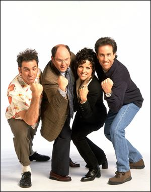 "The cast of NBC's ""Seinfeld,"" is shown in this undated handout photo. Pictured from left are;  Michael Richards as Kramer, Jason Alexander as George Costanza, Julia Louis-Dreyfus as Elaine Benes and Jerry Seinfeld as Jerry Seinfeld."