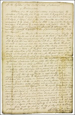This photo provided by Christie's shows George Washington's Thanksgiving Proclamation, with a pre-auction estimated value of $8-12 million.