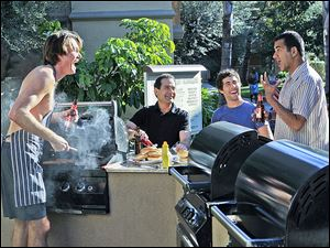 Actors, from left, Jerry O'Connell, Tony Shalhoub, Chris Smith, and Kal Penn in a scene from CBS' new sitcom 'We Are Men.'