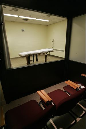 The death chamber at the Southern Ohio Corrections Facility in Lucasville, Ohio. Prison officials said they may using of a compounding pharmacy to develop a drug for executions.