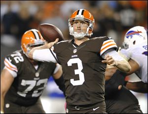 Cleveland Browns quarterback Brandon Weeden passes against the Buffalo Bills in the fourth quarter.