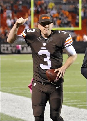 Cleveland Browns quarterback Brandon Weeden celebrates after the Browns' 37-24 win over the Buffalo Bills.