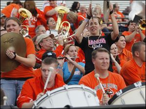 The BGSU Alumni Band playing during the game. The alumni were there as part of the university's homecoming festivities.
