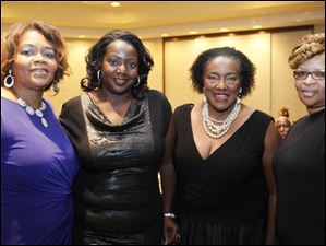 Clara Petty, left, of Toledo, with friends from Buffalo, N.Y. They are, second from left: Laquitta Reid, Yvonne Boyles-Evans, and Cassandra Robinson.