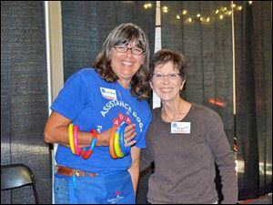 Susan Zeier and Margaret Katona at the Wine Toss game.