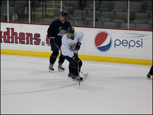 The Toledo Walleye on the first day of training camp.