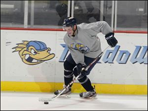Toledo Walleye #29, Tyler Pilmore, born in Sylvania, during camp.