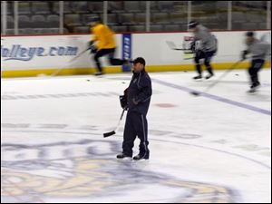 Walleye head coach Nick Vitucci during camp.