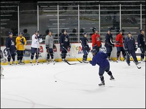 Walleyes at practice during camp.