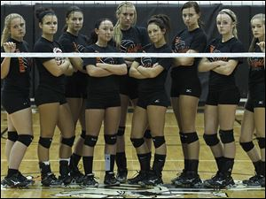 Otsego won the Northern Buckeye Conference volleyball title with, from left, Kylie Asmus, Lindsey Donald, Lauren Wynn, Savannah Schwind, Morgan Smoyer, Emily McVeigh, Abby Hesselschwardt, Mallory Beach, and MacKenzy Varner.