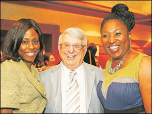 Left to right Tedra White, Contributor Award winner Tony Falzone, and Tolani Kashimawo at the annual Touchstone Awards