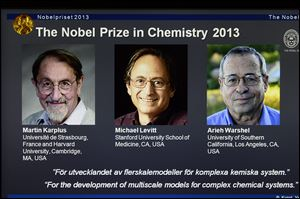 A Web page shows the laureates Martin Karplus, Michael Levitt and Arieh Warshel as winners of the 2013 Nobel Prize in chemistry, announced by the Royal Swedish Academy of Sciences in Stockholm.