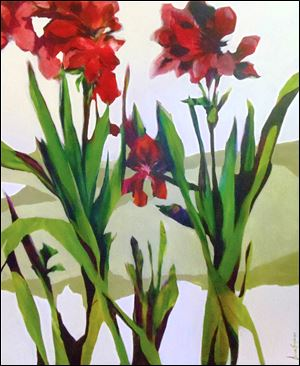 Vanessa Snyder's acrylic on canvas, 'Amaryllis #3,' is one of the works in an exhibit of nearly 200 pieces of art opening Oct. 18 at Sam B's in Bowling Green.