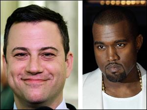 TV show host Jimmy Kimmel, left, and singer Kanye West, right.