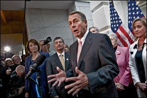 House Speaker John Boehner of Ohio, shown with fellow Republicans at a news conference, later took part in talks trying to reach a deal with President Obama on the debt ceiling at the White House late Thursday.