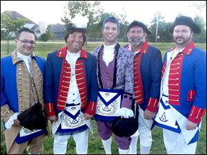 Donning War of 1812 period garb for the Army Lodge bicentennial ceremony were, from left, Andrew Archer, Robert Young, Jeffrey Young, Matthew Gloor, and Jeremy Sharinghouse.
