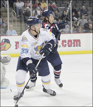 Forward Luke Glendening tallied 21 points for the Walleye last season, scoring 14 goals to go along with seven assists..