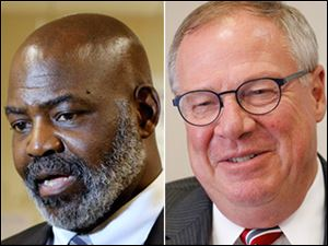 Mayor Mike Bell, left, and challenger D. Michael Collins, right.