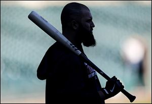 The Red Sox's Mike Napoli waits to bat during practice at Comerica Park on Monday.