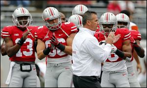 Ohio State head coach Urban Meyer fires up his team.