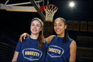 UT basketball players Elena de Alfredo, left, and Inma Zanoguera were teammates this summer on the Spanish U-20 team that won the European Championships.